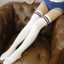 Sexy 2019 Warm Long Stocking Fashion Striped Knee Socks Women Cotton Thigh High Over The Knee Stockings For Ladies(China)