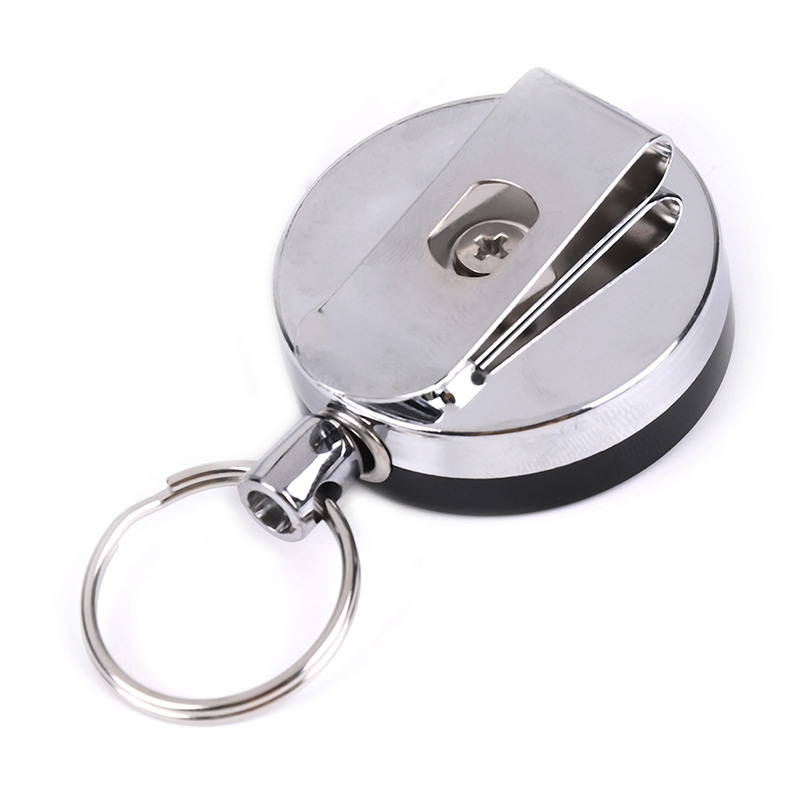 1PCS Portable Classic Casual Stainless Steel Badge Reel Retractable Key Ring Fashion ID Card Holder Clips