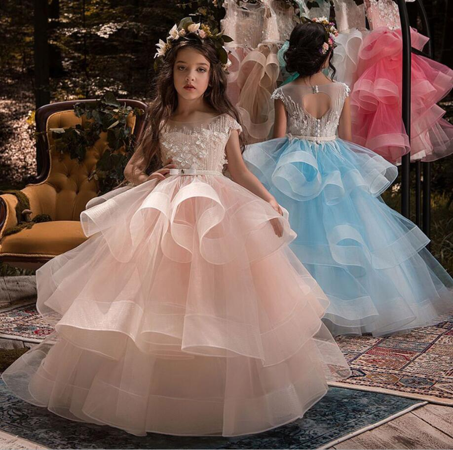 New Appliques Flower Girls Dresses For Weddings Lace Belt Ball Gown Birthday Children Girl Pageant Gown First Communion Dress