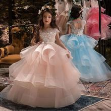 Dresses Ball-Gown First-Communion-Dress Flower-Girls Birthday Weddings for Lace-Belt