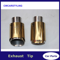 Car Styling Gold Stainless Steel Universal Car Exhaust Pipe Tip Tailtip 90mm / 60mm Akrapovic Car Exhaust Tips End Tips
