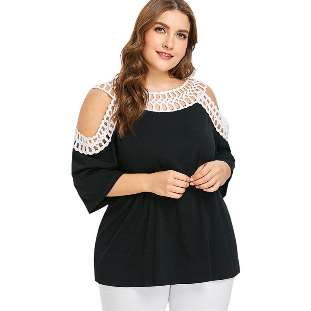 Summer Womens Fashion   Blouse     Shirts   Solid Colors Plus Size O Neck Short Sleeve Sexy Cold Shoulder Hollow Out Loose Blusas Mujer