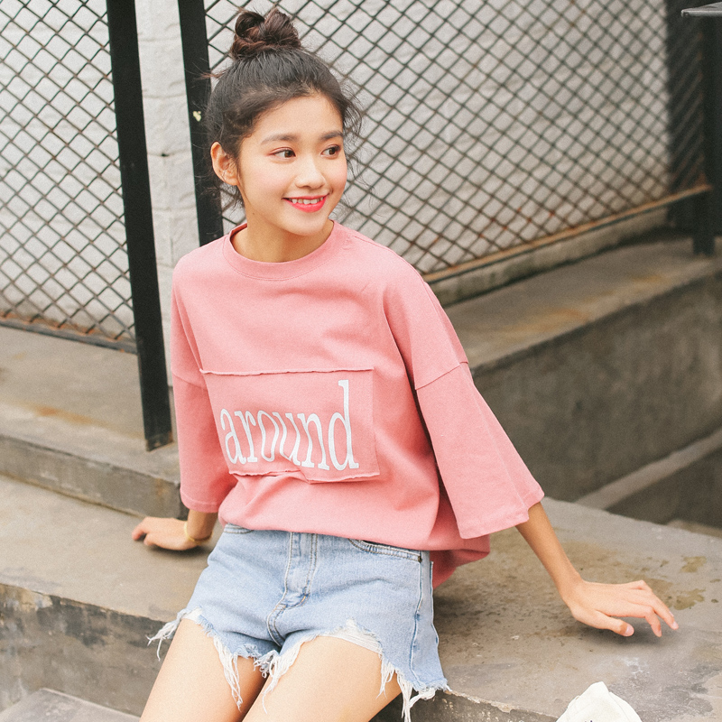 Buy Summer 2017 Korean Ulzzang Harajuku Shirts Women Fashion Retro Cute Pink T