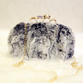High Quality 2016 Women Winter Hand Bag Rabbit Evening Bags Fur Party Chains Shoulder Bag Gold Chain Diamonds Crossbody Cluth
