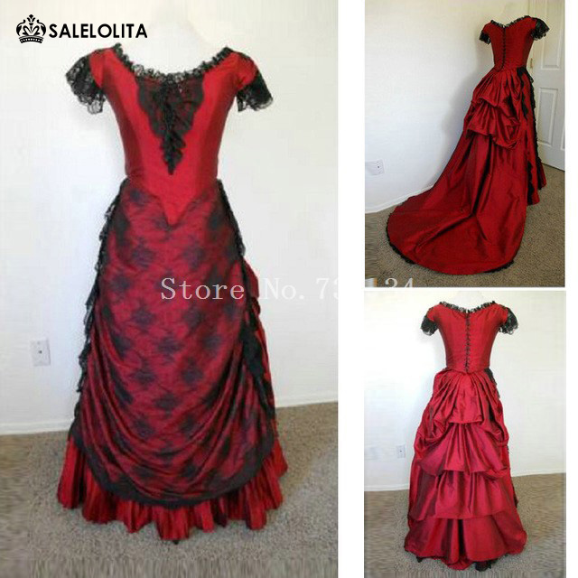 Elizabethan Era Gothic Victorian Bustle Wine Red Dress Rococo ...