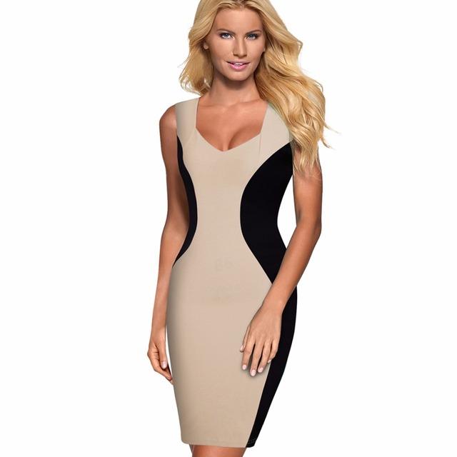 Summer Women's Contract ColorBlock Sleeveless Bodycon Dress Business Casual Wear to Work Sheath Pencil Dress 1E529