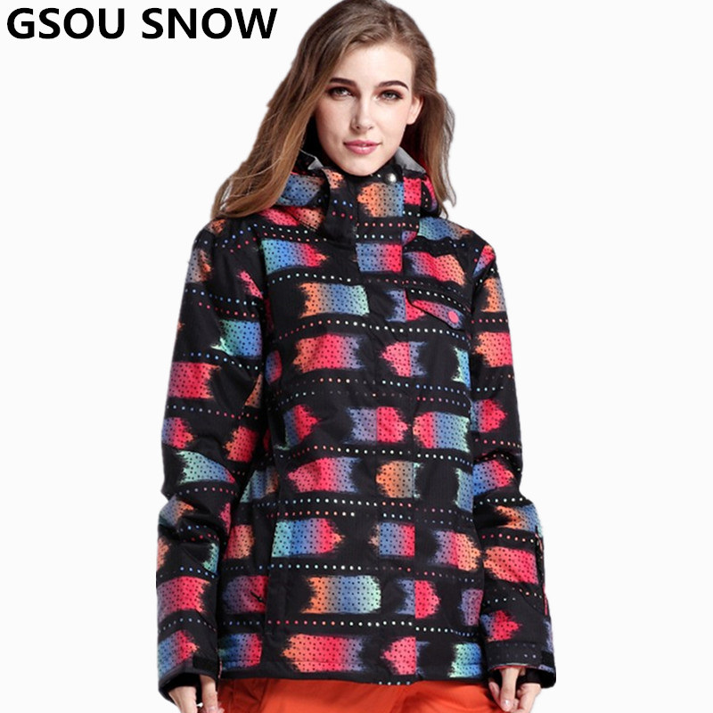 Gsou Snow -30 Degree Ski Jacket Women Winter Snowboard Jacket Waterproof 10K Breathable skiing jacket women outdoor snow clothes hot sale women ladies snowboard jacket waterproof breathable ski jacket female winter snow coat sport motorcycle anorak clothes