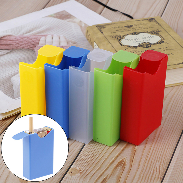 Nouveau 1 pièces Transparent Portable en plastique étui à cigarettes en gros tenir doux Pack peut mettre allume-cigare boîte à cigarettes
