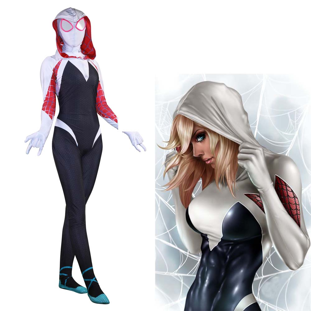 Spider Gwen Stacy Costume 2019 New 3D Print Spandex Lycra Spiderman Zentai Halloween Cosplay Party Female Spider Suit With Mask