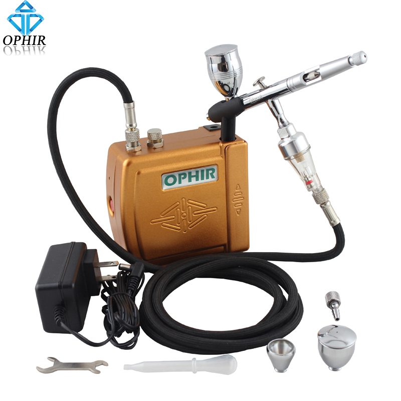 OPHIR 0.5mm PRO Dual-Action Airbrush Kit with Mini Air Compressor for Temporary Tattoo Nail Art Model Hobby _AC003G+AC006+AC011 ophir pro 2x dual action airbrush kit with air tank compressor for tanning body paint temporary tattoo spray gun  ac090 004a 074