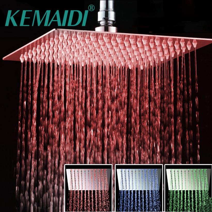 KEMAIDI Bathroom shower head Chrome Brass LED Square Rain Shower Head Top Over Shower Sprayer For 8 /10 /12 /16 /20 /24 12 led square rain shower head wall mounted shower arm w shower hose top over shower sprayer