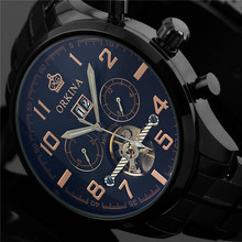 Orkina Mens Watches Top Brand Luxury Gold Black Steel Month Date Day Automatic Self Mechanical Watch