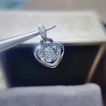 ANI 18K Solid White Gold Pendant Necklace SI Real Natural Diamond Fine Jewelry Women Engagement Necklace Heart Birthday Gift 2