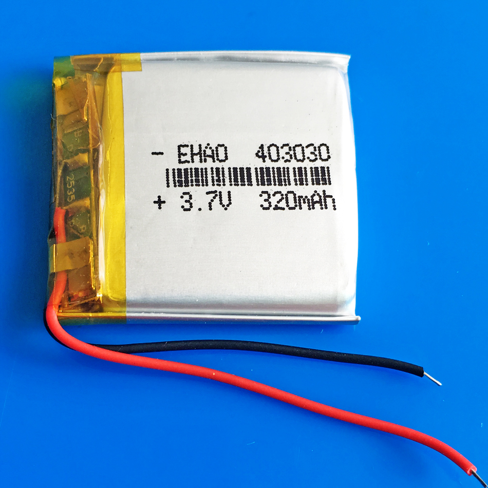 <font><b>3.7V</b></font> <font><b>320mAh</b></font> 403030 li-po polymer lithium rechargeable battery for MP3 MP4 GPS DVD bluetooth recorder headset e-book camera image