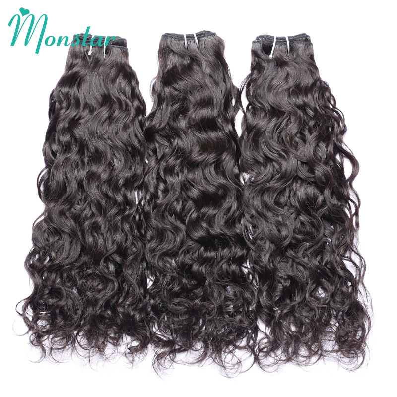 Monstar Unprocessed Peruvian Virgin Hair 3 Bundles Water Wave Bundles Natural Wavy Human Hair Weave 12 - 30 Inch Free Shipping