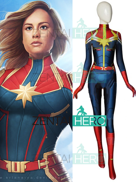 aabbd7cab23 3D Printed NEW MCU Captain Marvel Cosplay Costume SpandexMs Marvel Female  Zentai Bodysuit Halloween Superhero Costume No Belt