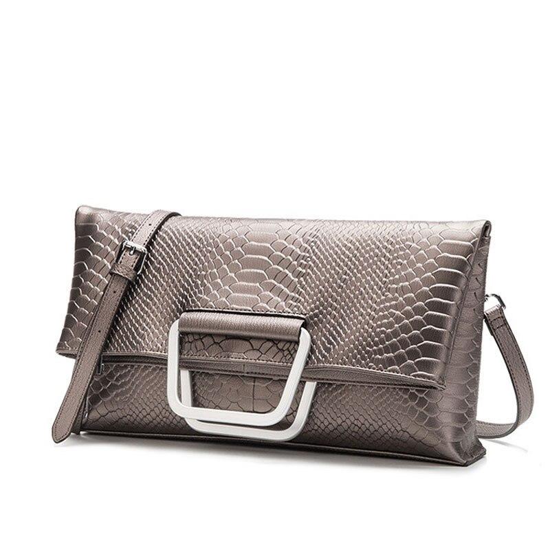 Luxury Female Bag Crocodile Pattern 100% Genuine Leather Folding Envelope Handbag Inclined Women Shoulder Bag Foldable Messenger