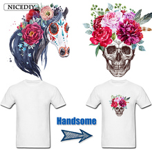 Nicediy Skull Flower Patches Heat Transfer Vinyl Sticker Patch Iron On Transfers Clothing Thermal Press Washable DIY