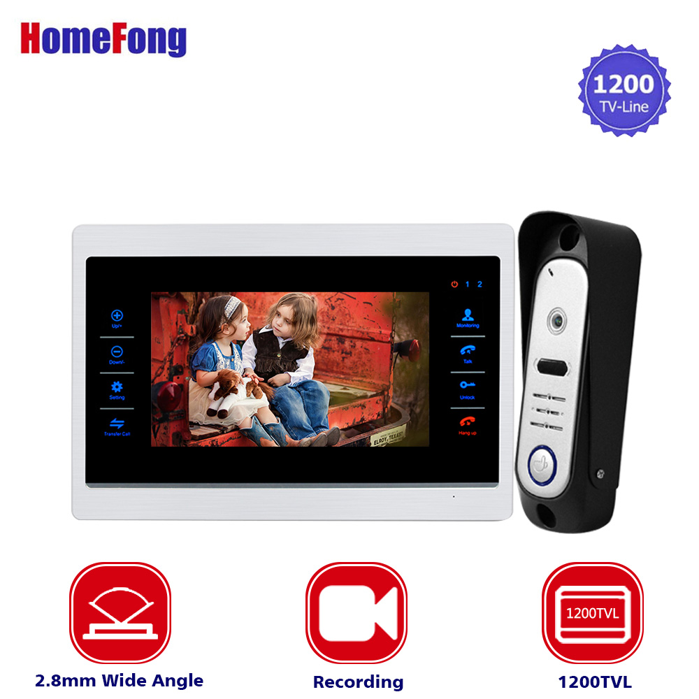 Homefong Home Intercom 7 inch TFT Monitor Wired Video Door Intercom System Wide Angle 1200TVL Night