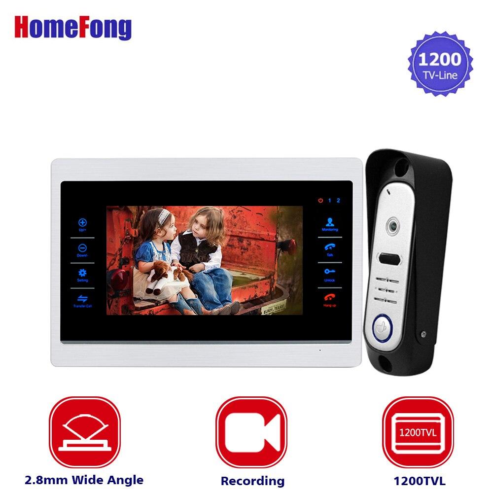 Homefong Maison Interphone 7 pouce TFT Moniteur Filaire Vidéo Porte Interphone Système Large Angle 1200TVL Vision Nocturne En Plein Air Camere