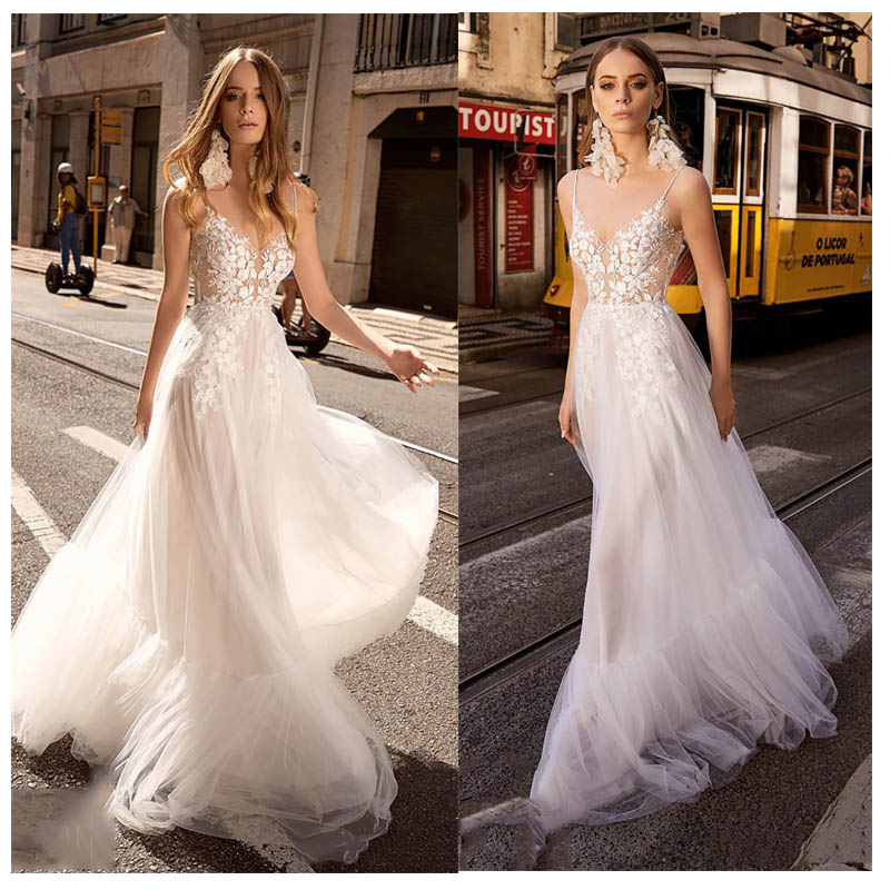 LORIE Sexy Boho Wedding Dress Spaghetti Straps Appliques  Bride Dress See Through Floor Length Wedding Gown Backless Style