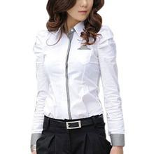b73efa3e48 (Dostawa od US) 2019 moda kobiety biuro biały bluzka pani formalne przycisk  w dół koszula pełna Puff koszula z długim rękawem topy trochę kiesze.