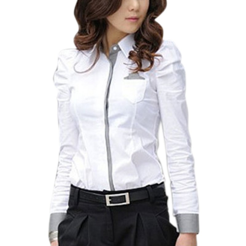 2020 Fashion Women Office White Blouse Lady Formal Button Down Shirt Full Puff Sleeve Shirt Tops Little Pockets Business Blouse