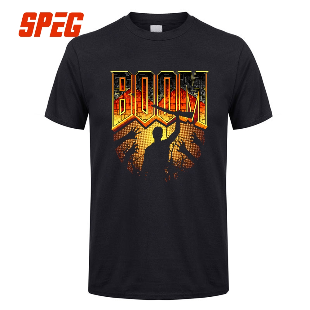 Novelty   T     Shirt   Game Doom 4 Reboot Retro Box Art Tees Man Male 100% Cotton Tops Clothes Short Sleeve   T  -  Shirt   Newest Male Crazy
