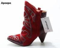 Apoepo Rood Lederen Kegel Hak Enkellaarsjes Puntschoen Gemengde kleur Winter Korte Laarzen Vrouwen Lage Hak Jurk Schoenen Real foto