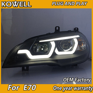 Image 3 - X5 ためkowellスタイリングヘッドランプヘッドライト 2007 2013 E70 エンジェルアイヘッドライトled drl信号ランプhidバイキセノン自動accessori