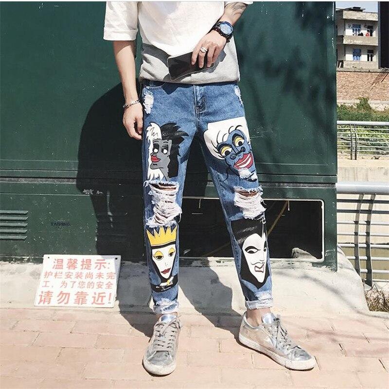 2017 New Men Biker Jeans Retro Vintage Denim Pants Print Slim Fit Tapered Hip Hop Blue Quality Jeans Boys Joggers Pants   A3394 men s cowboy jeans fashion blue jeans pant men plus sizes regular slim fit denim jean pants male high quality brand jeans