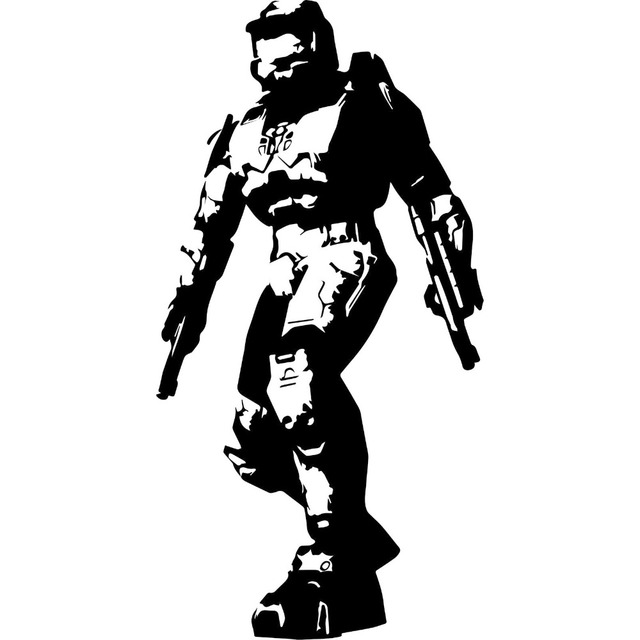game halo silhouette master cheif home room wall art decal sticker vinyl transfer mural decorative s m l