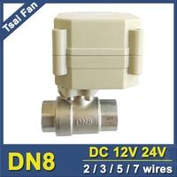Tsai Fan DC12V DC24V BSP NPT 1 4 Electric Water Valve 2 3 5 7 Wires