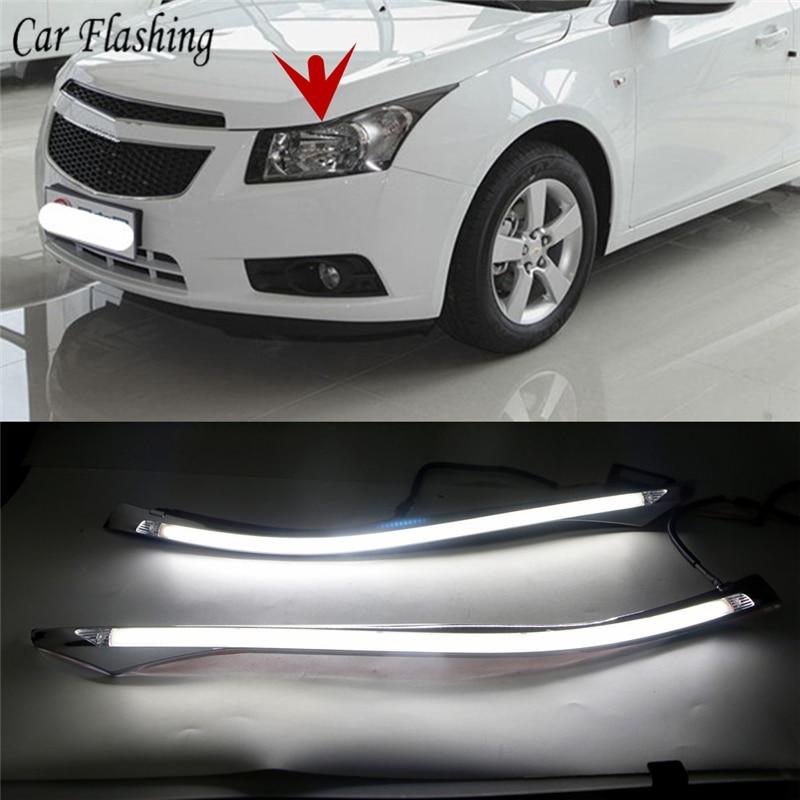 2PCS Car LED Headlight Eyebrow with Turn Signal 12V DRL Daytime Running Light For Chevrolet Cruze