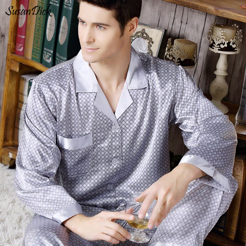 Susandick New Spring Autumn Mens Silk Satin Pajamas Long Sleeve Elegant Sleep Shirt And Pants Men Pijama Set Home Clothing