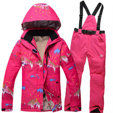Free Shipping 2016 New Winter Women Snow Windproof Waterproof Women Ski Jacket+Pants Warm Thicken Breathable Clothes Set