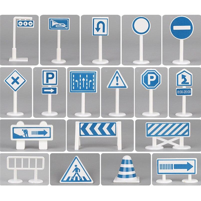 Diplomatisch Auto Speelgoed Accessoires Verkeer Verkeersborden 18 Pcs Blauw & Wit Kinderen Spelen Spel Leren Gereedschap Goede Gift Voor Chilidren 30ap08