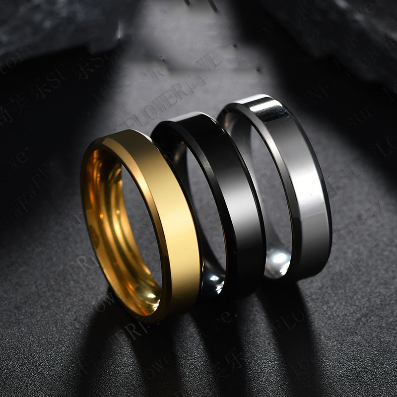 2018 6mm Titanium Steel Black Finger Rings Set For Man Silver Plated Ring For Women Golden-color Jewelry Female Wedding Ring(China)