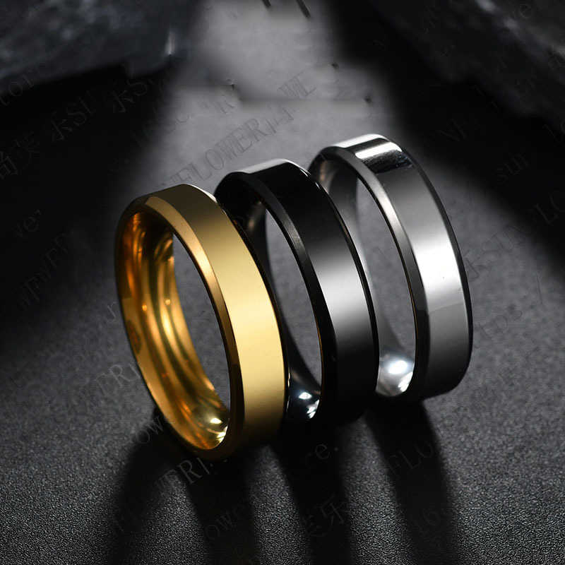 2018 6mm Titanium Steel Black Finger Rings Set For Man Silver Plated Ring For Women Golden-color Jewelry Female Wedding Ring