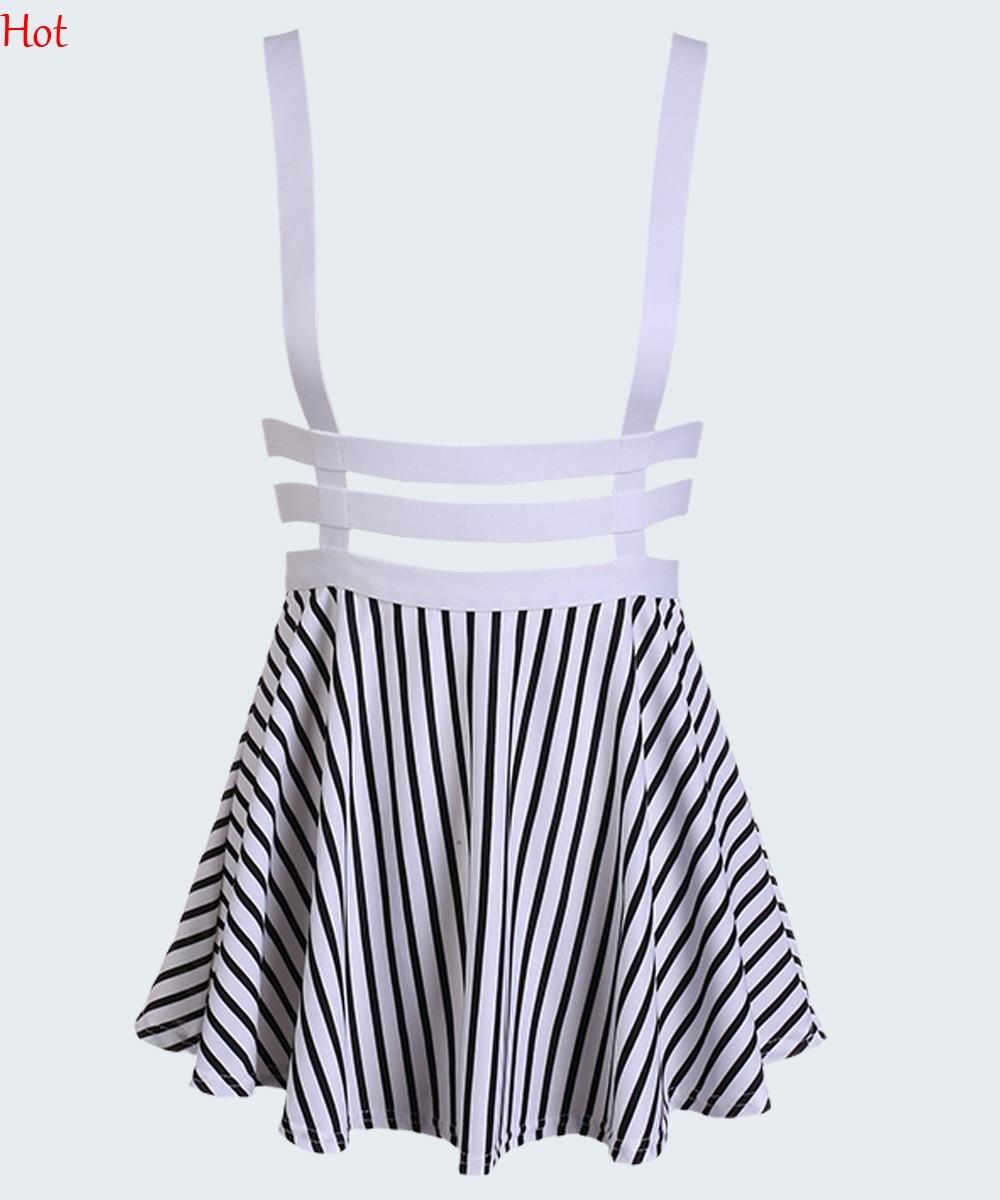 Hot Sale 2018 Spring Summer Womens Skirts Preppy Style Unique Cutout Mesh A-Line Mini Pleated Suspender Braces Skirt SV006679