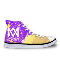 THIKIN Marcus And Martinus Printing Lace up High Top Female Canvas Flats Vulcanize Shoes Custom Pop Stars Fashion Women Sneakers
