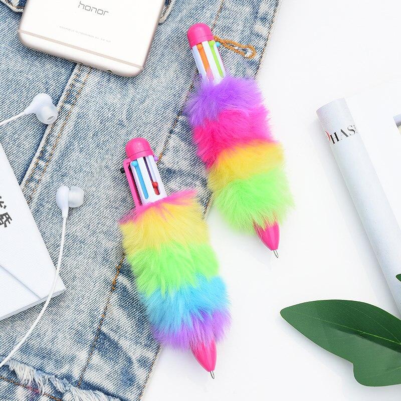 plush moda simples multicolorido kawaii cor caneta
