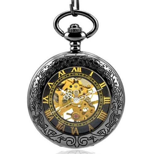 Retro Luxury Golden Skeleton Mechanical Pocket Watches Men Antique Roman Numerals Hand Wind Necklace Pocket & Fob Watch Chain