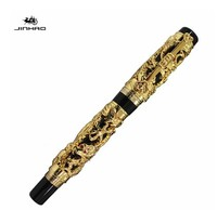 Jinhao Luxury Gold 3D Dragon and Phoenix Pattern Rollerball Pen High Quality Metal Ballpoint Pens for Writing Free Shipping