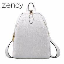 Zency Пояса из натуральной кожи Для женщин рюкзак моды Элитный бренд из натуральной коровьей кожи Рюкзаки молодая девушка Школьные сумки