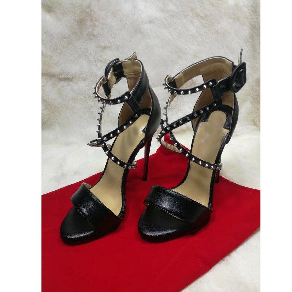 2019 Spring 1cm Platform X Cross Tie Spikes Rivets Women Sandals Thin High Heels Ankle Buckle