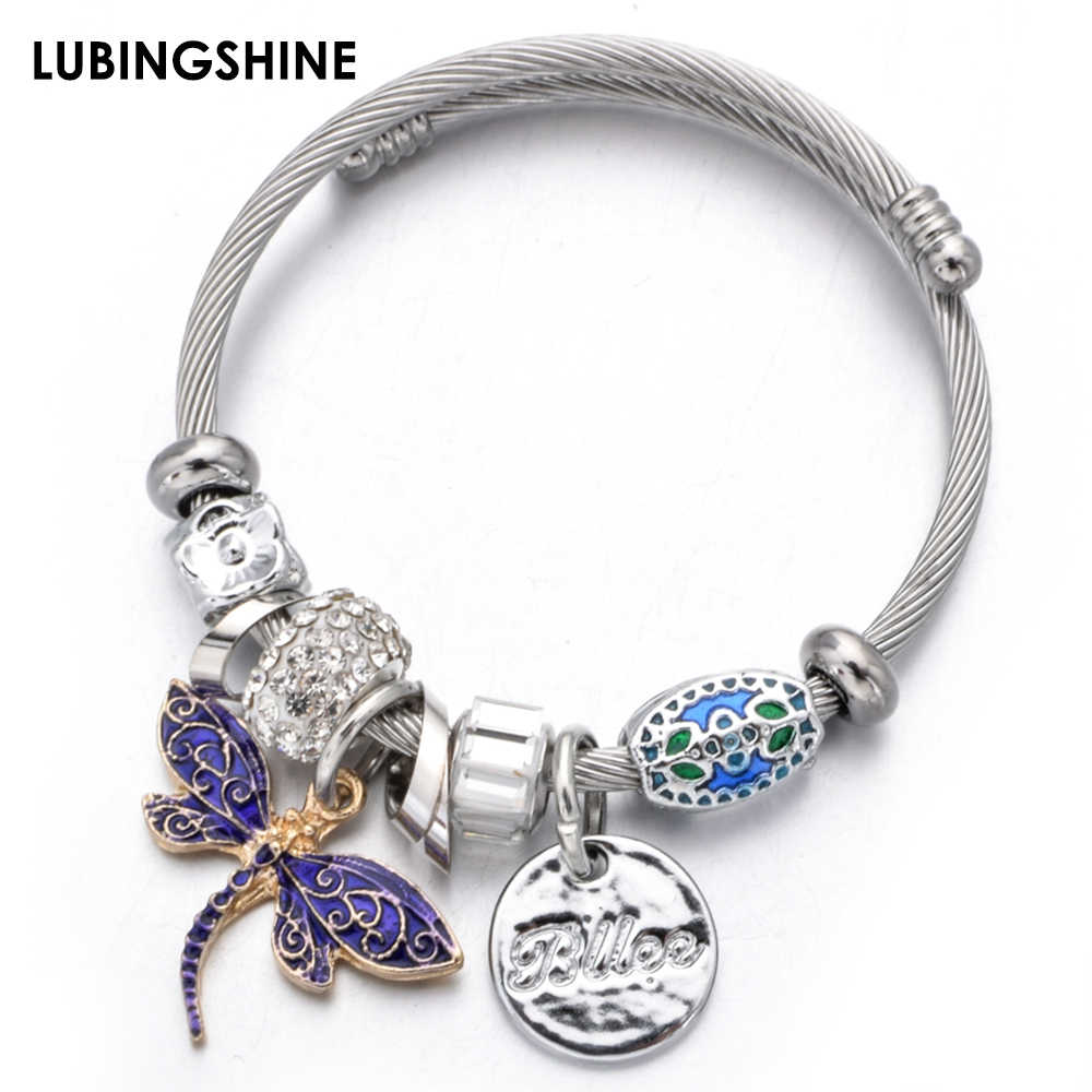 Exquisite Dragonfly Pendant Stainless Steel Bracelet&Bangle Crystal Disco Ball Charms Adjustable Bracelet Jewelry for Women