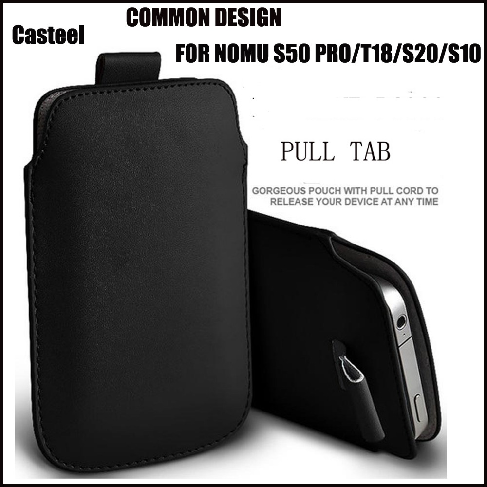 a9a6262f0d Casteel PU Leather Case For nomu s50 pro t18 s20 s10 Pull Tab Sleeve Pouch  Bag Case Cover