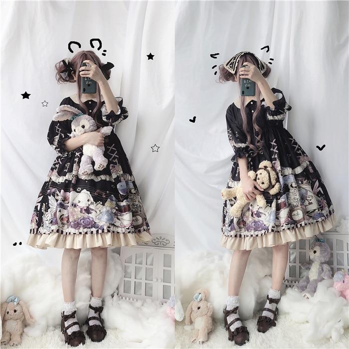 Sweet Printed Petal Sleeve Lolita Dress With Ruffles Peter Pan Collar Lolita OP Dresses Cute Large