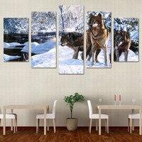 5 unidades de la lona arte nieve lobo hielo HD imprimir muro fotos para la sala de la lona pintura arte nórdico home decor poster ny-6200